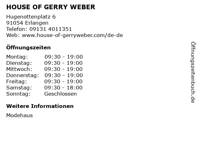 HOUSE OF GERRY WEBER in Erlangen: Adresse und Öffnungszeiten