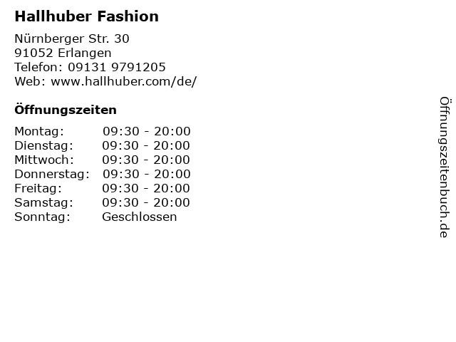 Hallhuber Fashion in Erlangen: Adresse und Öffnungszeiten