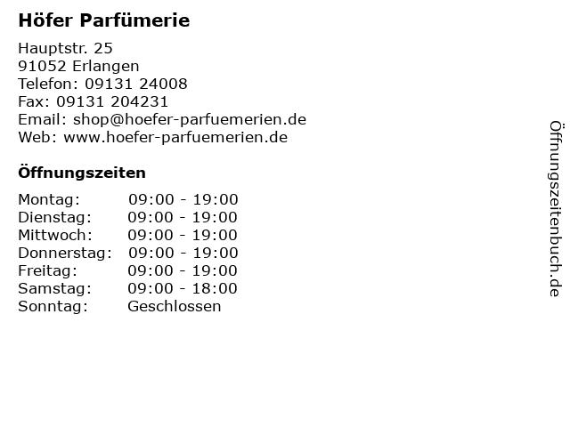 Höfer Parfümerie in Erlangen: Adresse und Öffnungszeiten