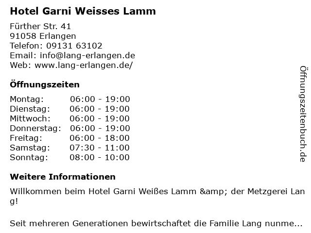 Hotel Garni Weißes Lamm & der Metzgerei Lang in Erlangen: Adresse und Öffnungszeiten
