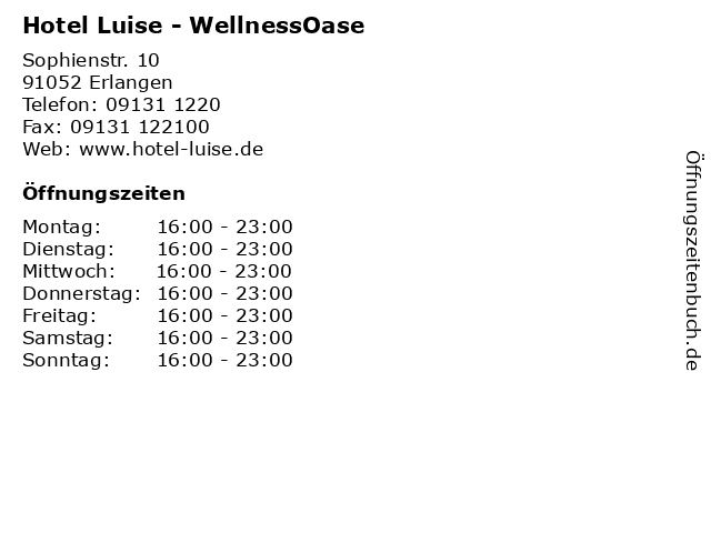Hotel Luise - WellnessOase in Erlangen: Adresse und Öffnungszeiten