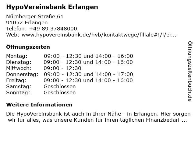 HypoVereinsbank Erlangen in Erlangen: Adresse und Öffnungszeiten