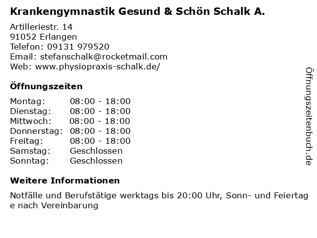 Krankengymnastik Gesund & Schön Schalk A. in Erlangen: Adresse und Öffnungszeiten