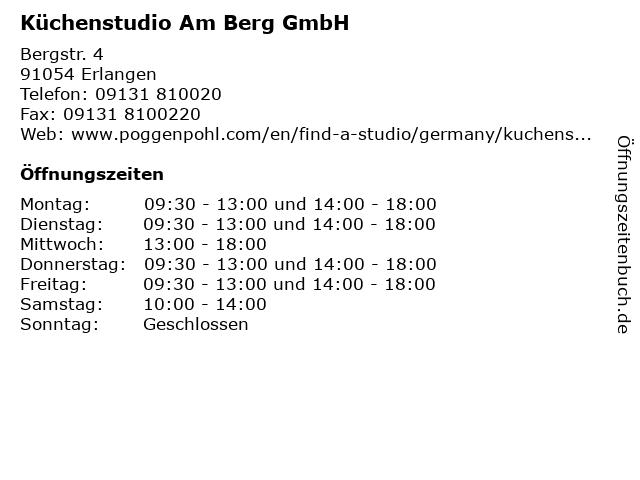 ᐅ Offnungszeiten Kuchenstudio Am Berg Gmbh Bergstr 4 In Erlangen