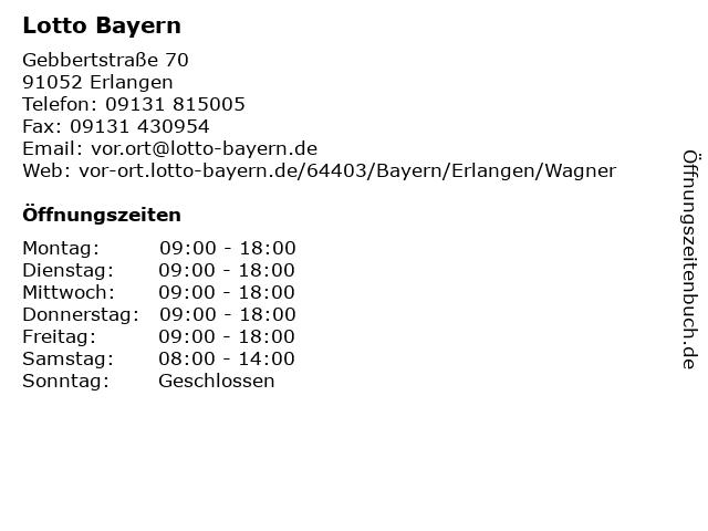 Lotto Bayern in Erlangen: Adresse und Öffnungszeiten