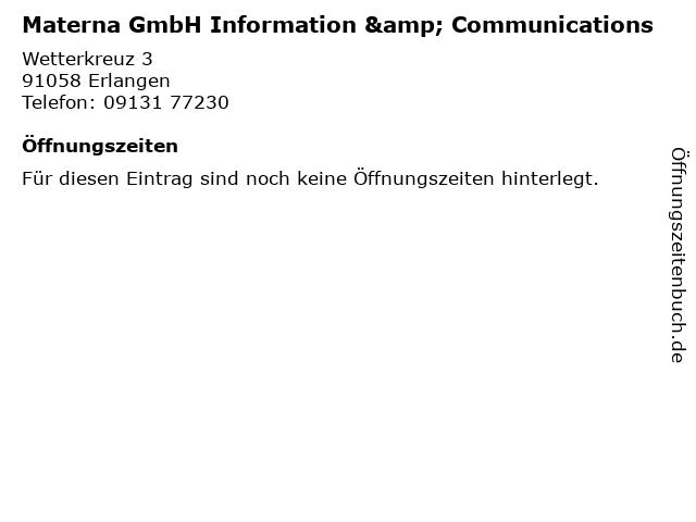 Materna GmbH Information & Communications in Erlangen: Adresse und Öffnungszeiten
