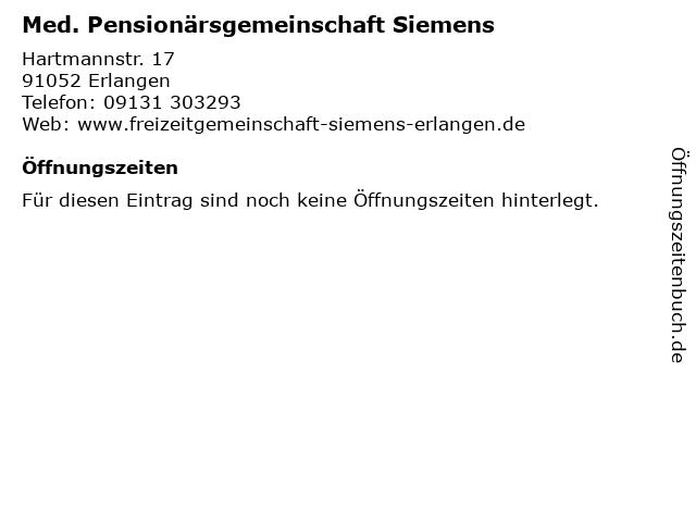 Med. Pensionärsgemeinschaft Siemens in Erlangen: Adresse und Öffnungszeiten