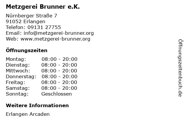 Metzgerei Brunner e.K. in Erlangen: Adresse und Öffnungszeiten