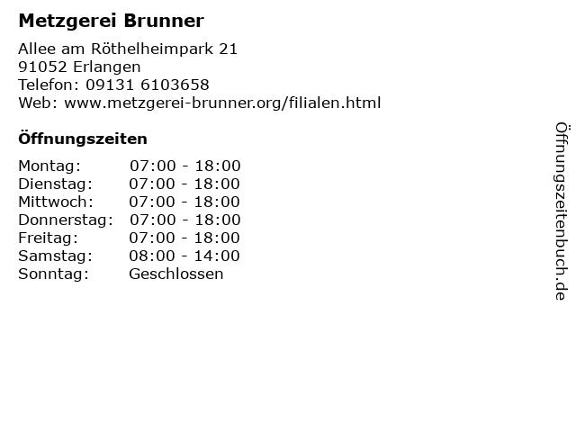 ᐅ öffnungszeiten Metzgerei Brunner Allee Am Röthelheimpark 21