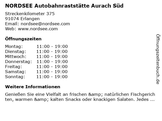 NORDSEE Autobahnraststätte Aurach Süd in Erlangen: Adresse und Öffnungszeiten