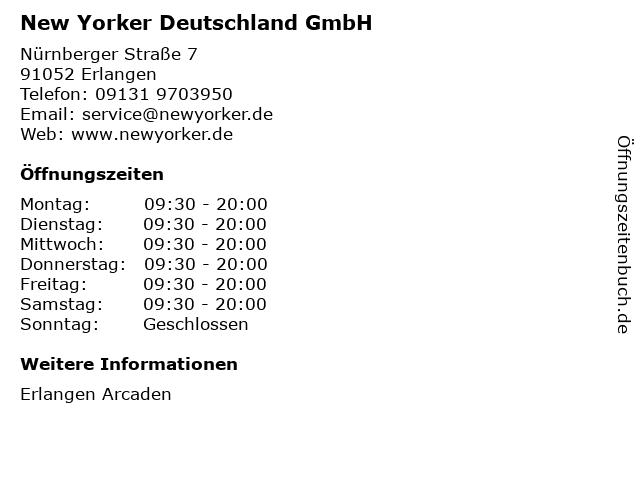New Yorker Deutschland GmbH in Erlangen: Adresse und Öffnungszeiten