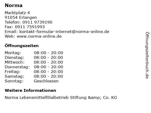 Norma in Erlangen: Adresse und Öffnungszeiten