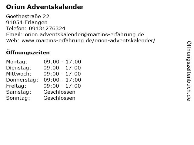 Weihnachtskalender Orion.ᐅ öffnungszeiten Orion Adventskalender Goethestraße 22 In Erlangen