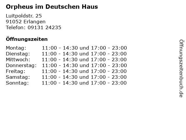 Orpheus im Deutschen Haus in Erlangen: Adresse und Öffnungszeiten