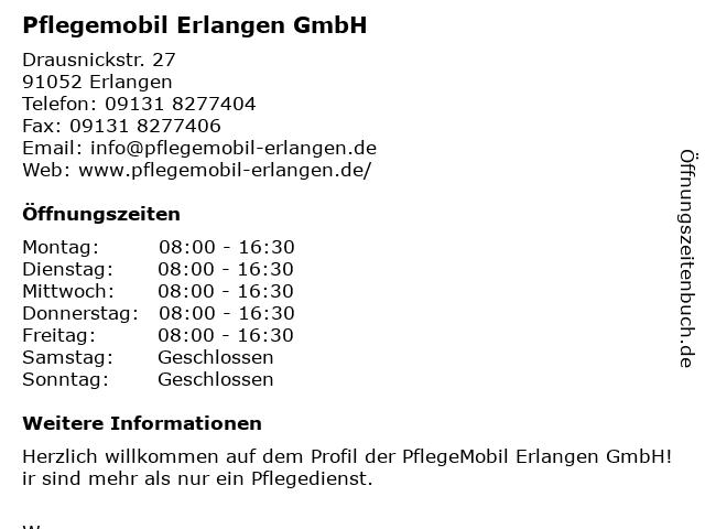 Pflegemobil Erlangen GmbH in Erlangen: Adresse und Öffnungszeiten