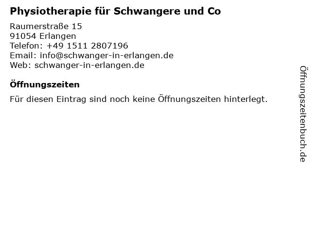 Physiotherapie für Schwangere und Co in Erlangen: Adresse und Öffnungszeiten