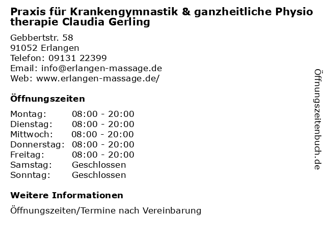 Praxis für Krankengymnastik & ganzheitliche Physiotherapie Claudia Gerling in Erlangen: Adresse und Öffnungszeiten