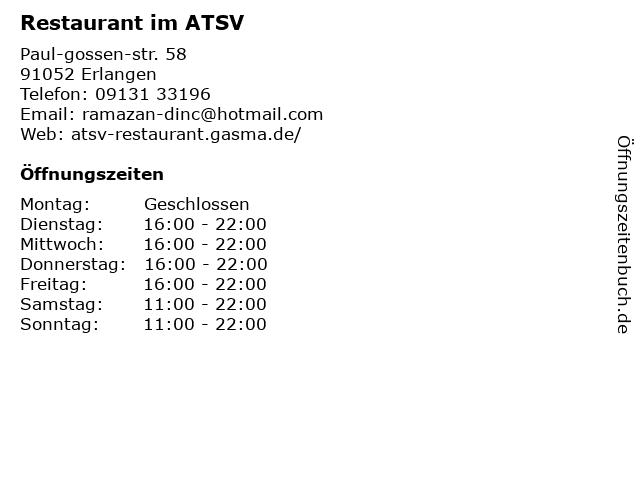 Restaurant im ATSV in Erlangen: Adresse und Öffnungszeiten
