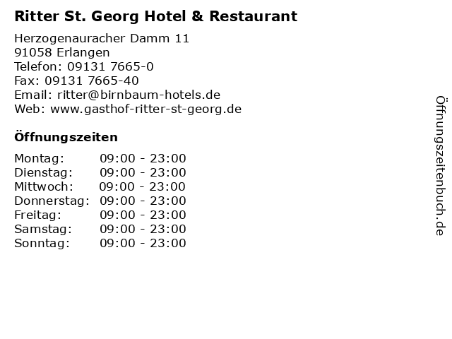 Ritter St. Georg Hotel & Restaurant in Erlangen: Adresse und Öffnungszeiten