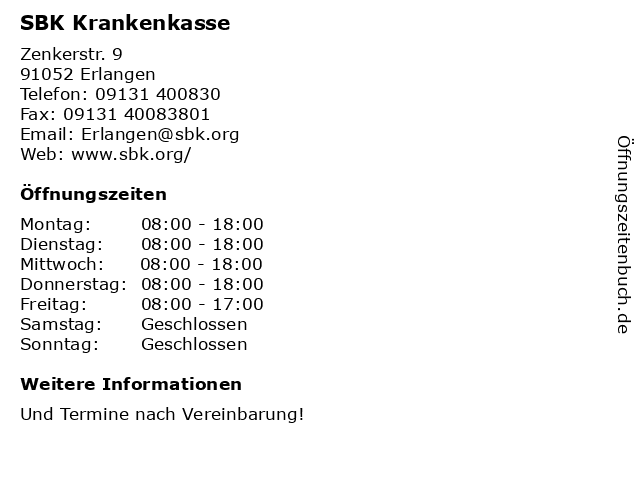 SBK Krankenkasse in Erlangen: Adresse und Öffnungszeiten