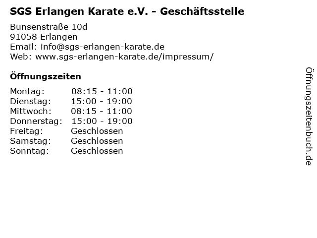 SGS Erlangen Karate e.V. - Geschäftsstelle in Erlangen: Adresse und Öffnungszeiten