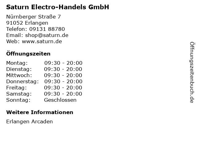 Saturn Electro-Handels GmbH in Erlangen: Adresse und Öffnungszeiten