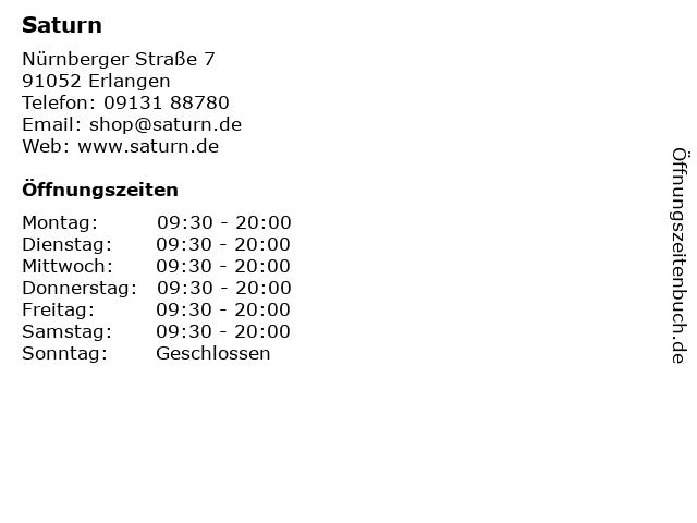 Saturn in Erlangen: Adresse und Öffnungszeiten