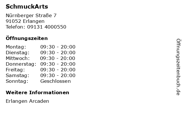 SchmuckArts in Erlangen: Adresse und Öffnungszeiten