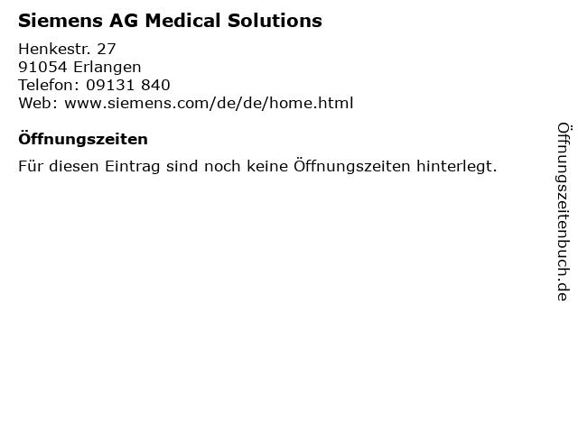 Siemens AG Medical Solutions in Erlangen: Adresse und Öffnungszeiten