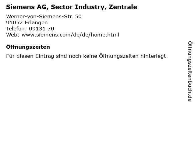 Siemens AG, Sector Industry, Zentrale in Erlangen: Adresse und Öffnungszeiten