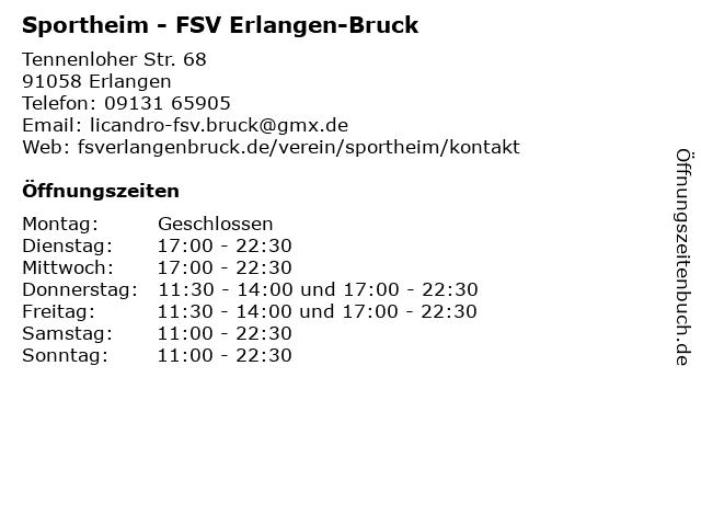 Sportheim - FSV Erlangen-Bruck in Erlangen: Adresse und Öffnungszeiten