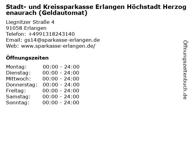 Stadt- und Kreissparkasse Erlangen - (Geldautomat Geschäftsstelle) in Erlangen: Adresse und Öffnungszeiten