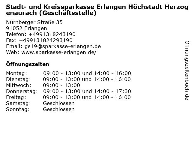 Stadt- und Kreissparkasse Erlangen - Geschäftsstelle Nürnberger Straße in Erlangen: Adresse und Öffnungszeiten