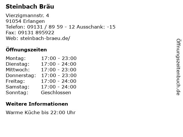 Steinbach Bräu in Erlangen: Adresse und Öffnungszeiten