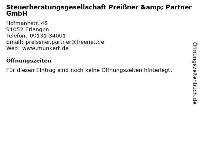 Steuerberatungsgesellschaft Preißner & Partner GmbH in Erlangen: Adresse und Öffnungszeiten