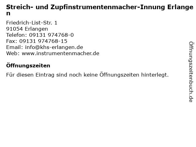 Streich- und Zupfinstrumentenmacher-Innung Erlangen in Erlangen: Adresse und Öffnungszeiten