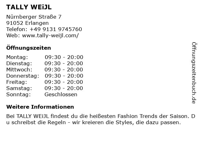 Tally Weijl Deutschland GmbH in Erlangen: Adresse und Öffnungszeiten