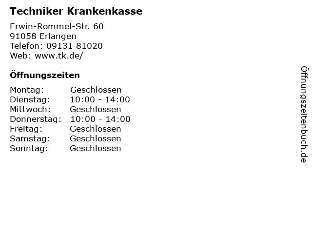 Techniker Krankenkasse in Erlangen: Adresse und Öffnungszeiten