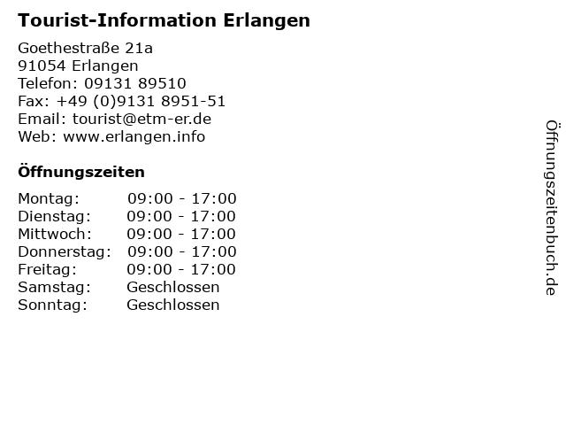 Tourist-Information Erlangen in Erlangen: Adresse und Öffnungszeiten