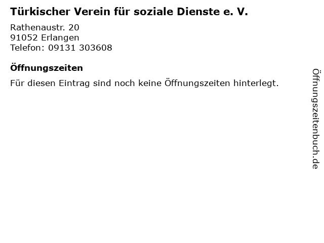 Türkischer Verein für soziale Dienste e. V. in Erlangen: Adresse und Öffnungszeiten