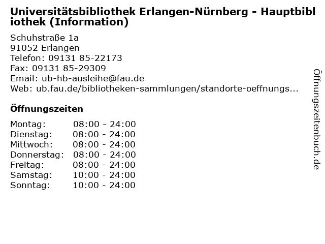 Universitätsbibliothek Erlangen-Nürnberg - Hauptbibliothek (Information) in Erlangen: Adresse und Öffnungszeiten