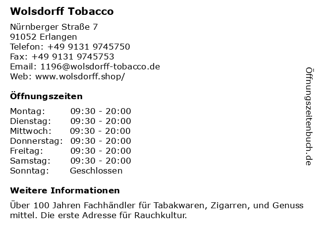 Wolsdorff Tobacco in Erlangen: Adresse und Öffnungszeiten