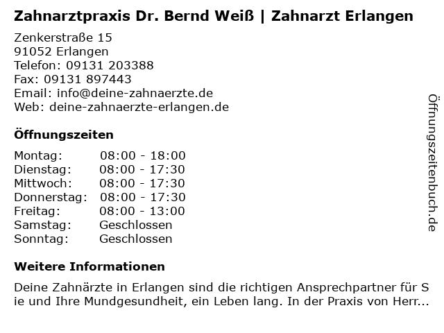 Zahnarzt Dr. Bernd Weiß in Erlangen: Adresse und Öffnungszeiten