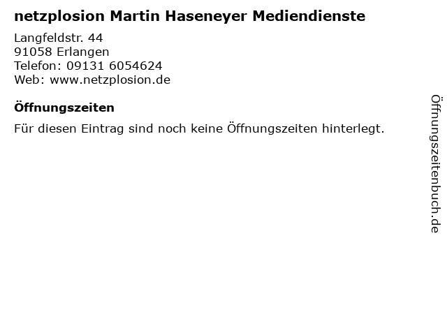 netzplosion Martin Haseneyer Mediendienste in Erlangen: Adresse und Öffnungszeiten