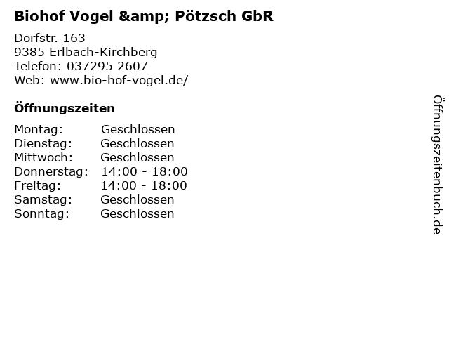 Biohof Vogel & Pötzsch GbR in Erlbach-Kirchberg: Adresse und Öffnungszeiten