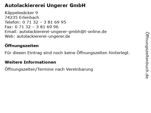Autolackiererei Ungerer GmbH in Erlenbach: Adresse und Öffnungszeiten