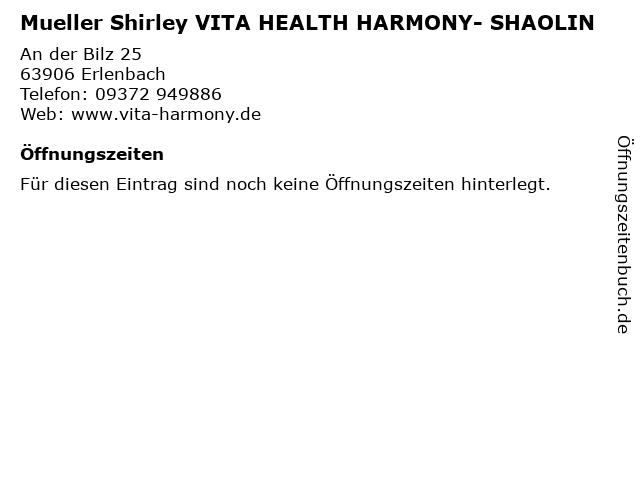 Mueller Shirley VITA HEALTH HARMONY- SHAOLIN in Erlenbach: Adresse und Öffnungszeiten