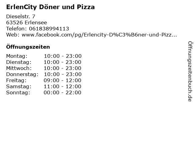 ErlenCity Döner und Pizza in Erlensee: Adresse und Öffnungszeiten