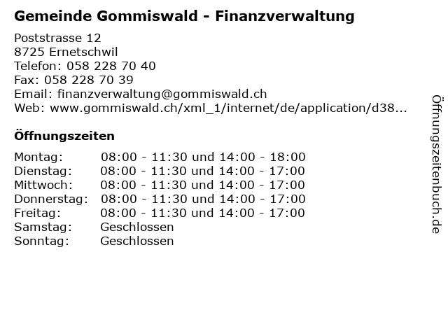 Gemeinde Gommiswald - Finanzverwaltung in Ernetschwil: Adresse und Öffnungszeiten