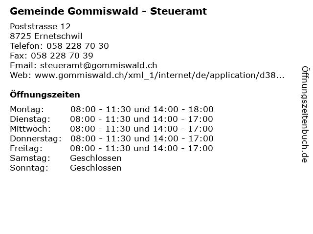 Gemeinde Gommiswald - Steueramt in Ernetschwil: Adresse und Öffnungszeiten